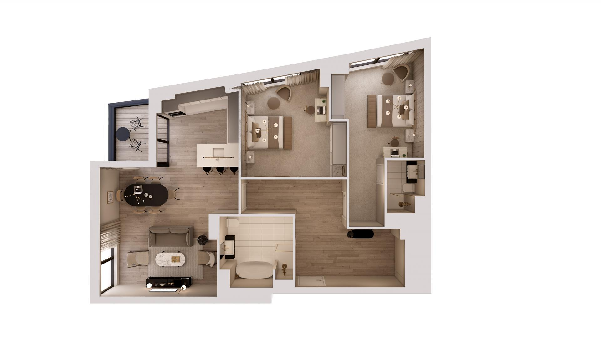2 bed 2 bath variation floor plan at STAY Camden Serviced Apartments, Camden, London