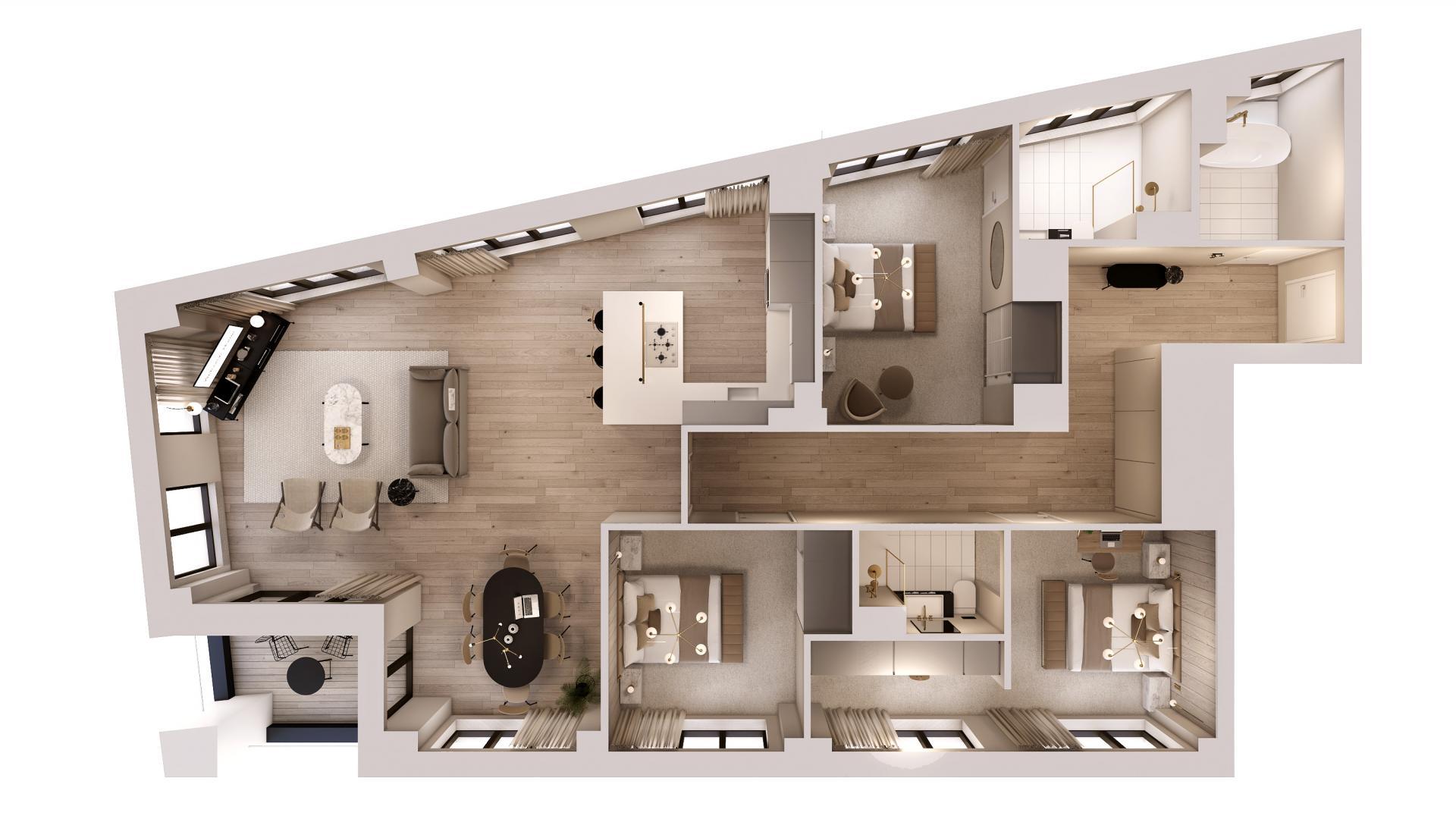 3 bed 3 bath floor plan at STAY Camden Serviced Apartments, Camden, London