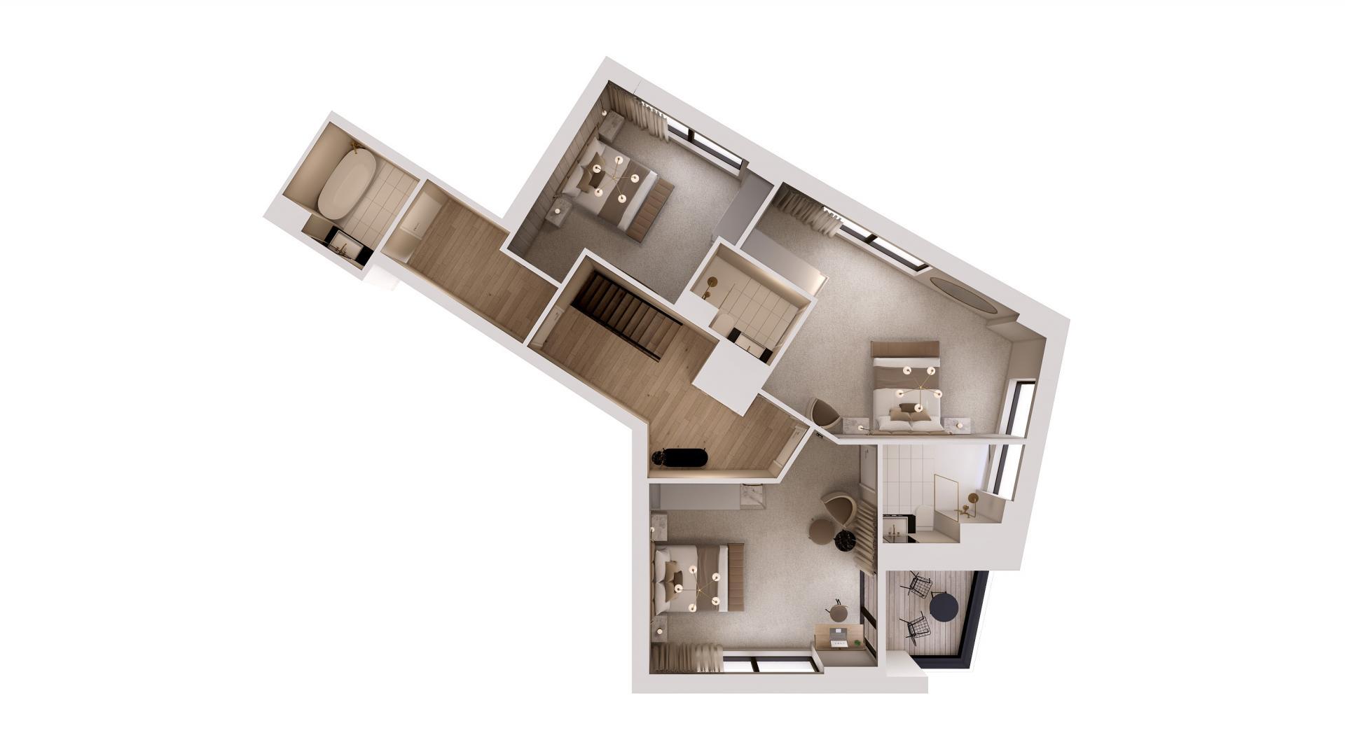 Duplex floor plan at STAY Camden Serviced Apartments, Camden, London
