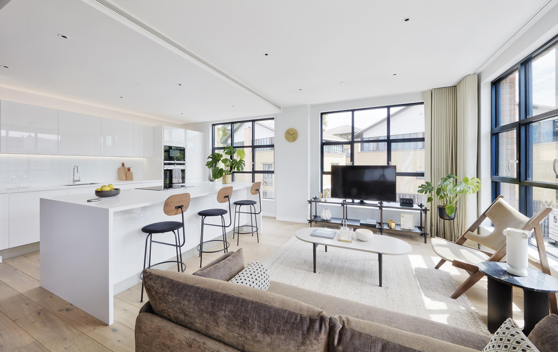 Open-plan layout at STAY Camden Serviced Apartments