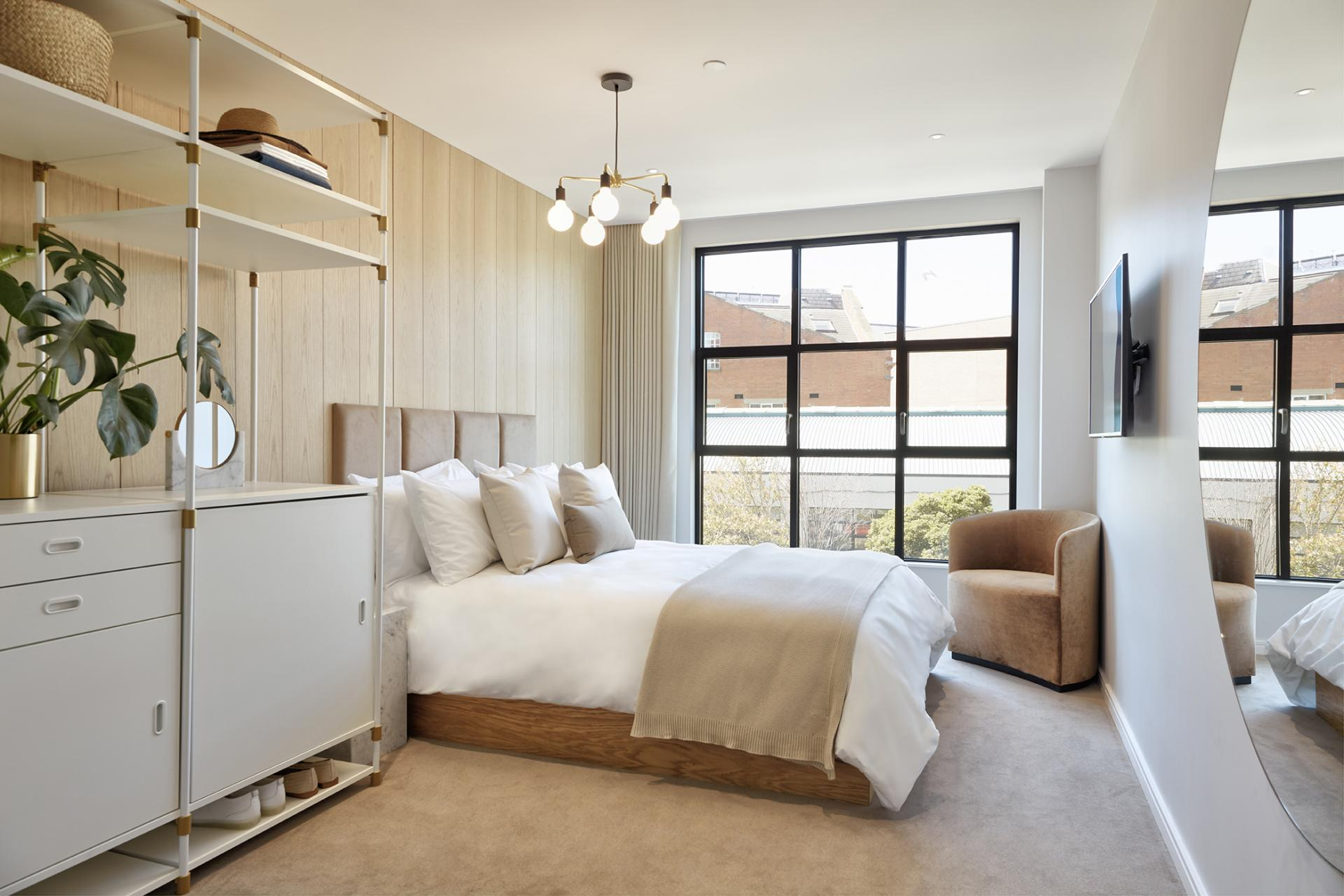 Bedroom storage at STAY Camden Serviced Apartments