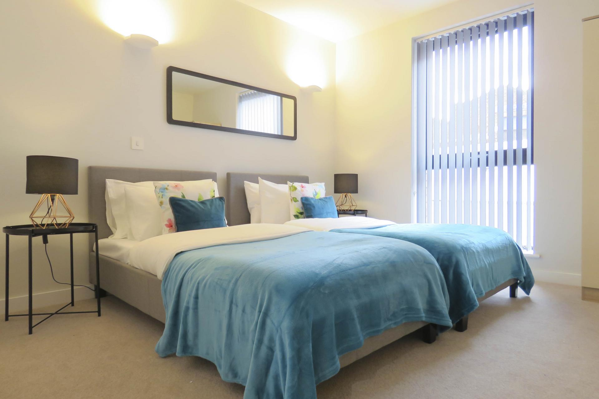 Twin bed at Jewellery Quarter Serviced Apartments