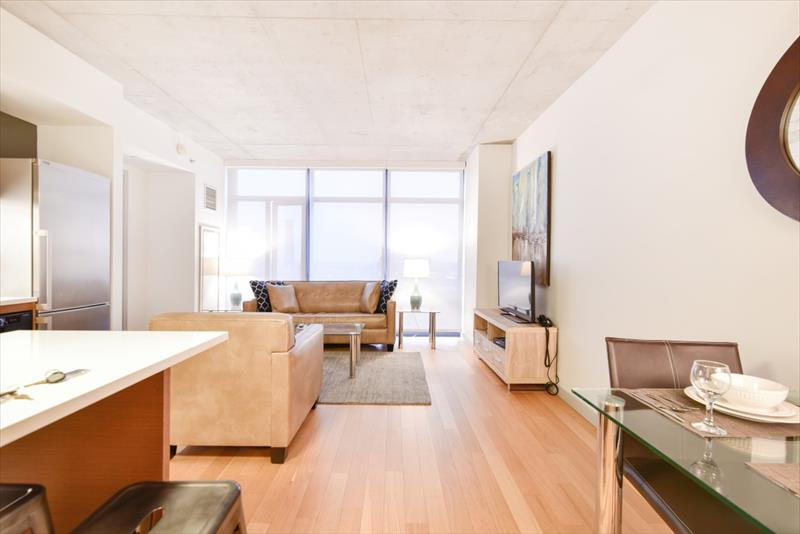 Spacious living area at 315 on A Apartments