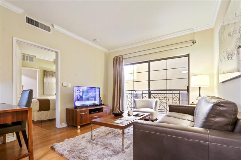 Stylish living room at 425 Broadway Apartments