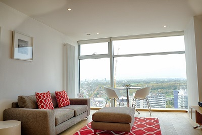 Bright lounge at Pioneer Point Apartments