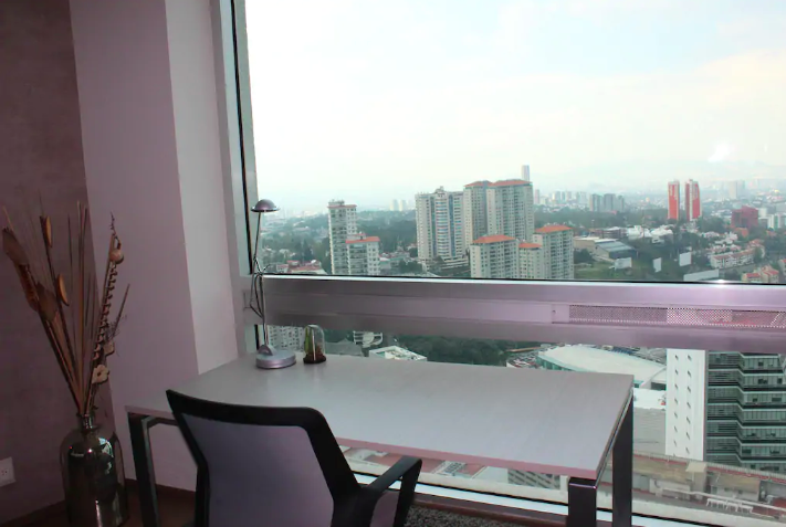 Work desk at Sky View Apartment, Lomas De Santa Fe, Mexico City