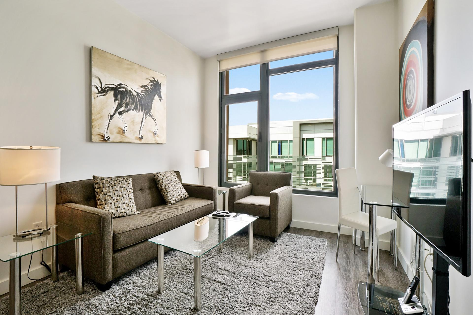 Living area at 923 Folsom Street Apartments, Soma, San Francisco