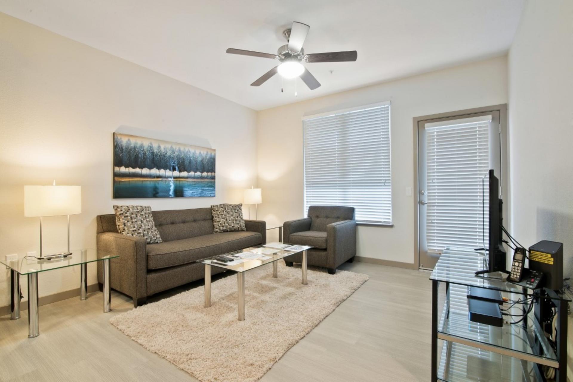 Sofa at Anton Apartments, Lakewood, Sunnyvale
