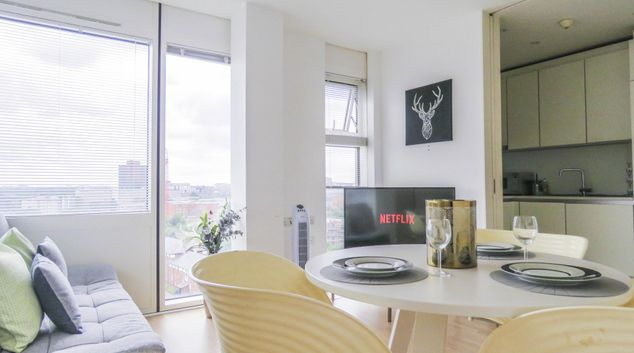 Living area at The Cube Serviced Apartments