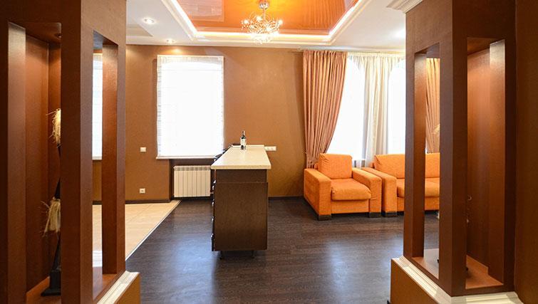 Open-plan living area in Mala Zhitomirskaya Apartment
