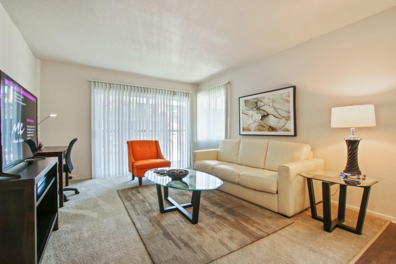Sofa at Ava Toluca Hills Apartments, Toluca Lake, Los Angeles