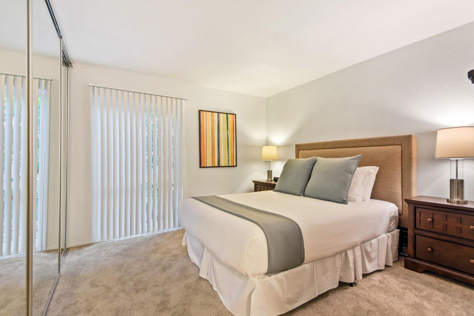 Bed at Ava Toluca Hills Apartments, Toluca Lake, Los Angeles
