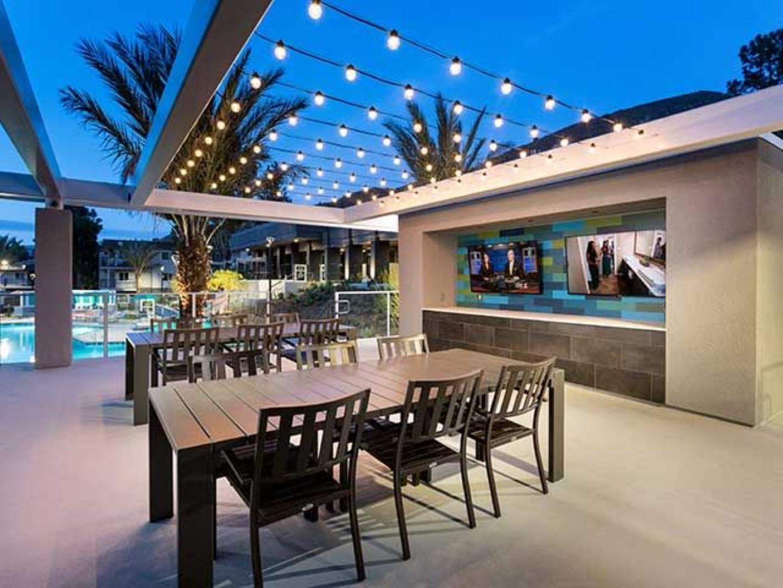 Communal deck at Ava Toluca Hills Apartments, Toluca Lake, Los Angeles