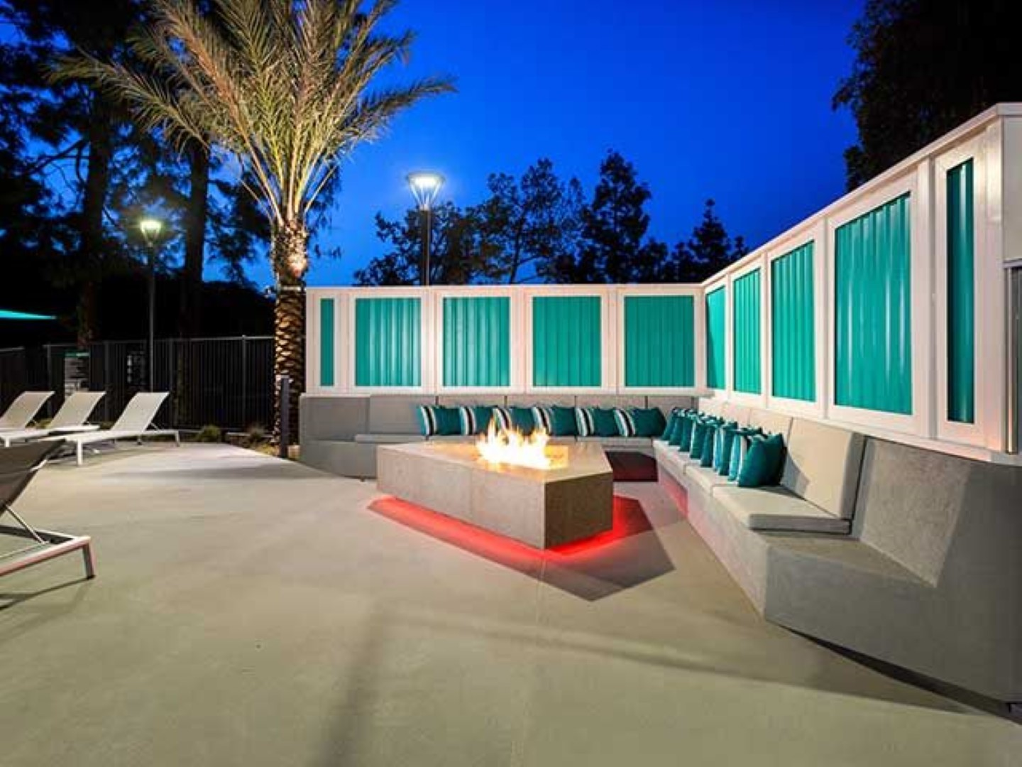 Fire pit at Ava Toluca Hills Apartments, Toluca Lake, Los Angeles