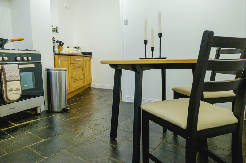 Dining table at St John's Cottage