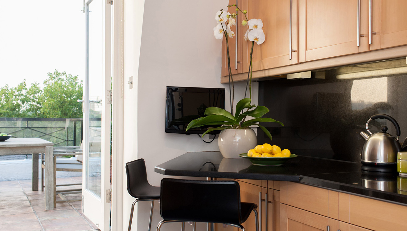 Kitchen area at Europa House Apartments