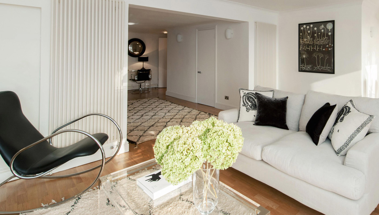 Stylish living area at Europa House Apartments