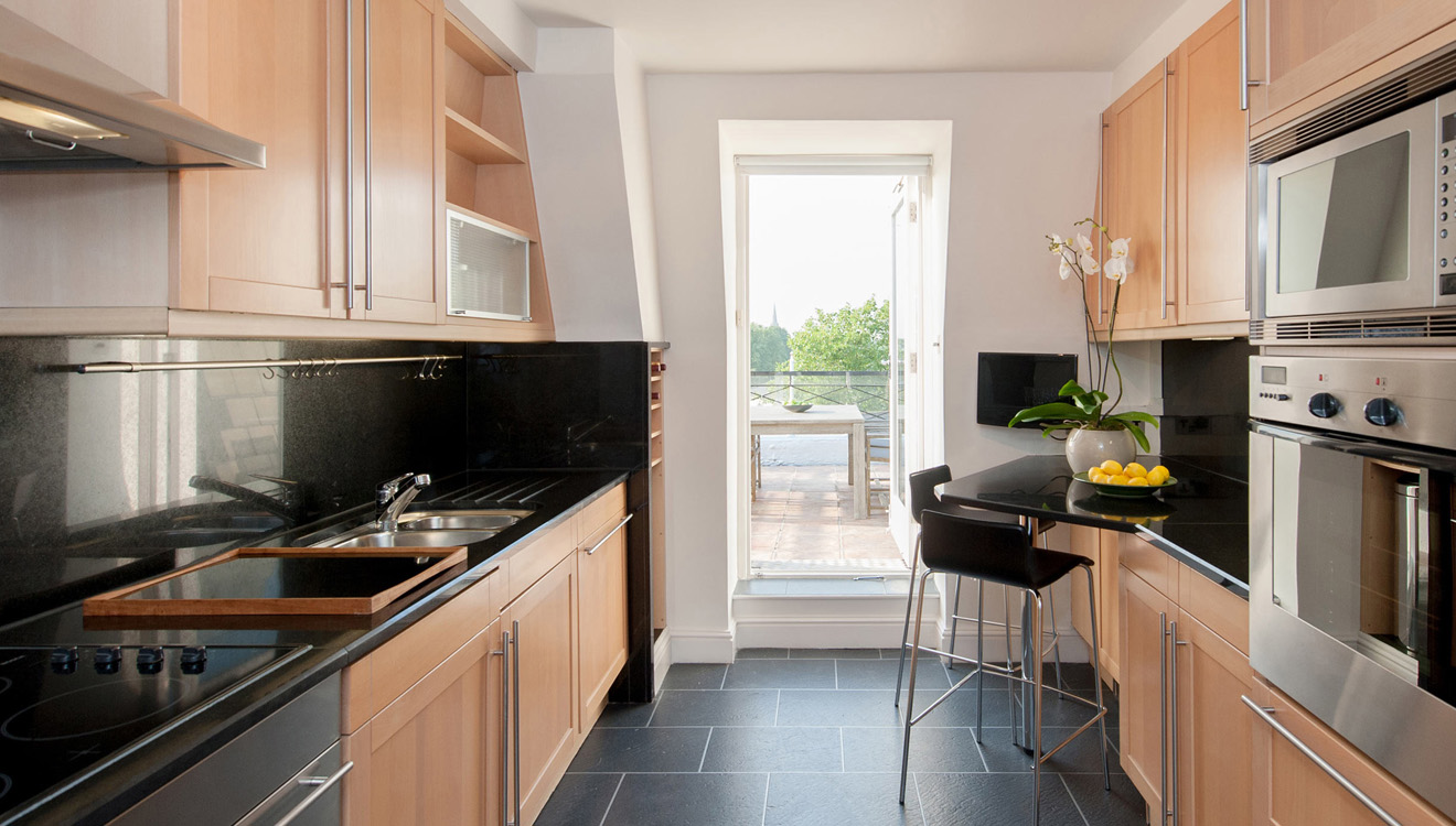 Bright kitchen at Europa House Apartments