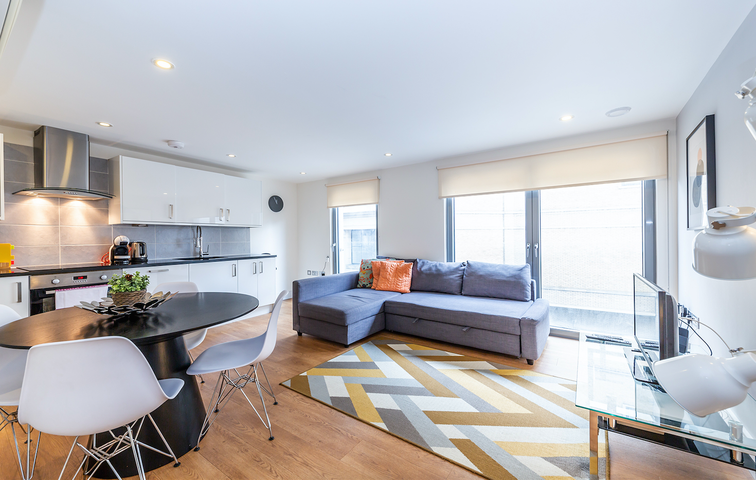 Open-plan living area at Redan Place Apartments