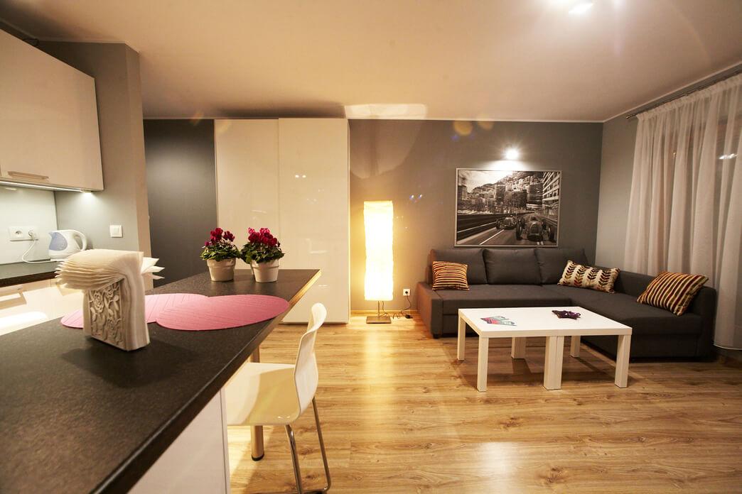 Spacious living area at Starowislna Apartments