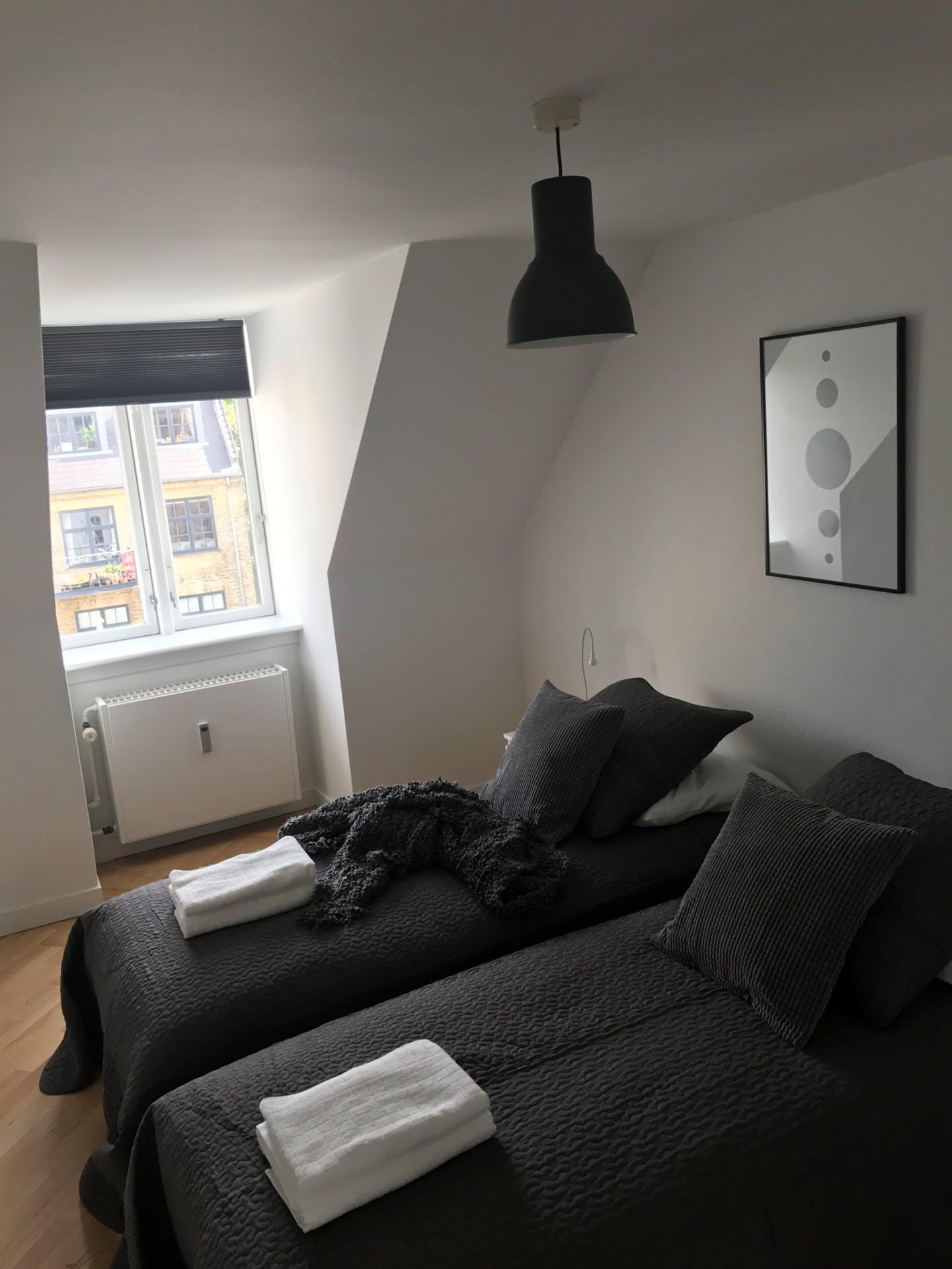Twin beds at Nørrebrogade Apartments, Nørrebro, Copenhagen