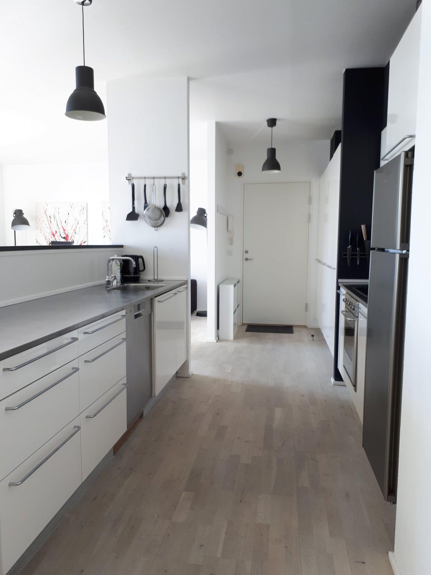 Modern kitchen at Dampfærgevej Apartment, Centre, Copenhagen