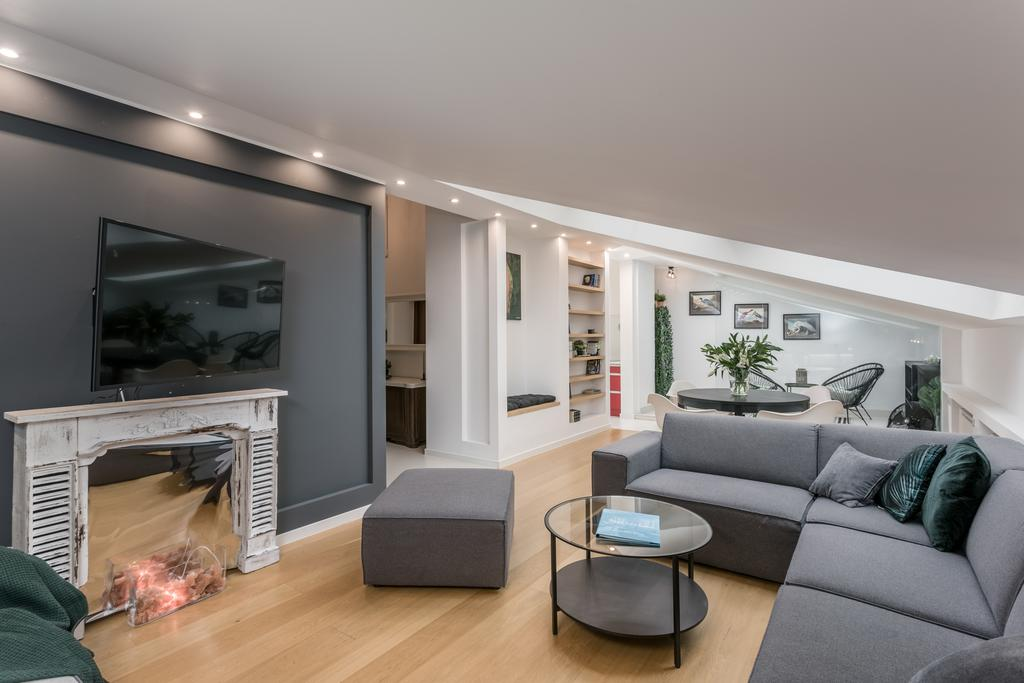 Living area at Mirowski Square Apartment