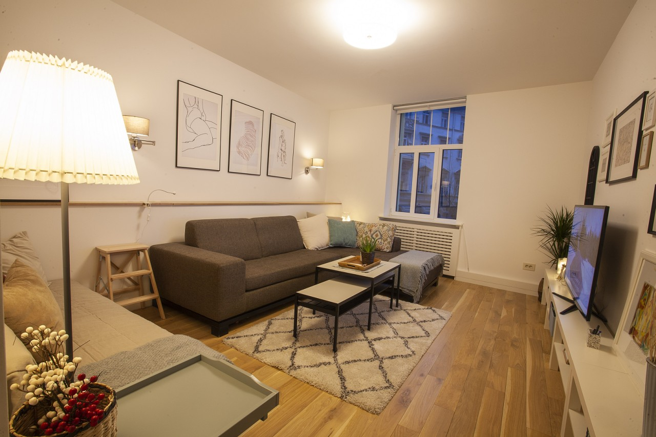 Living room at White Apartment, Kosančićev Venac, Belgrade