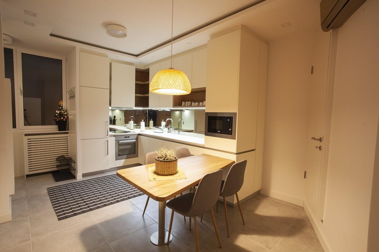 Kitchen at White Apartment, Kosančićev Venac, Belgrade