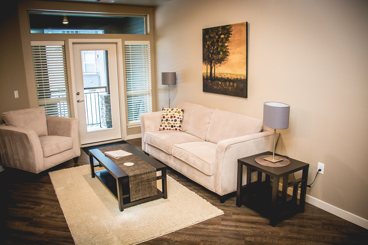 Living room at The District Apartments