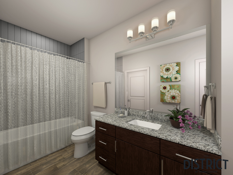 Bathroom at The District Apartments