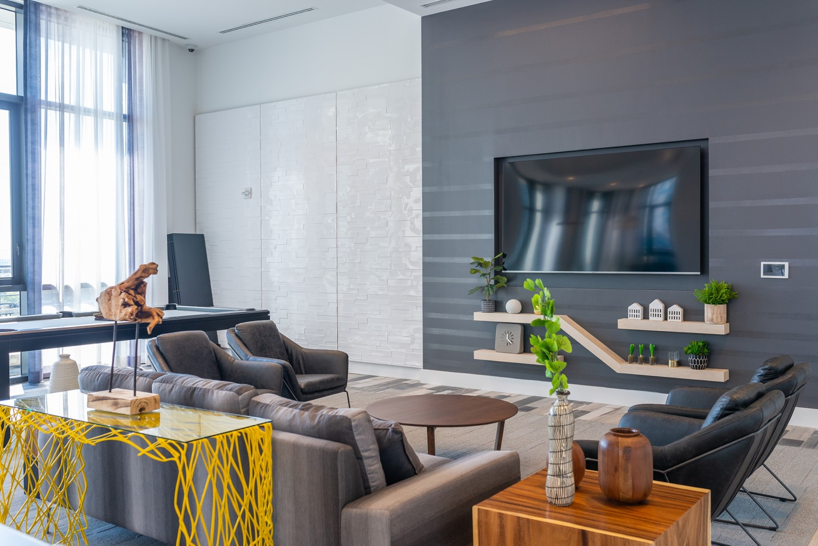 Residents lounge at Caoba Miami Worldcenter  Apartments, Downtown, Miami