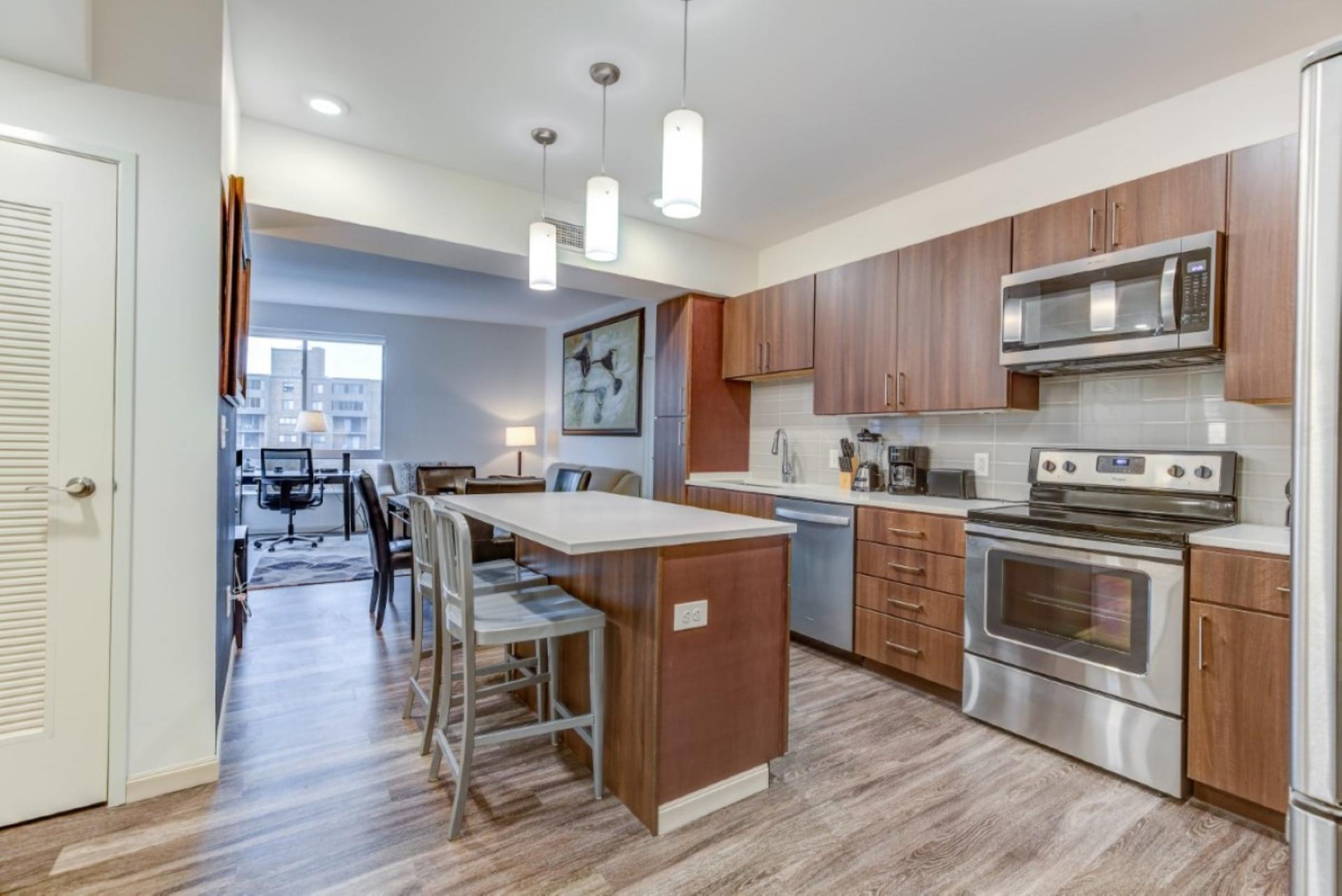 Kitchen at Centric Apartments, University Circle, Cleveland