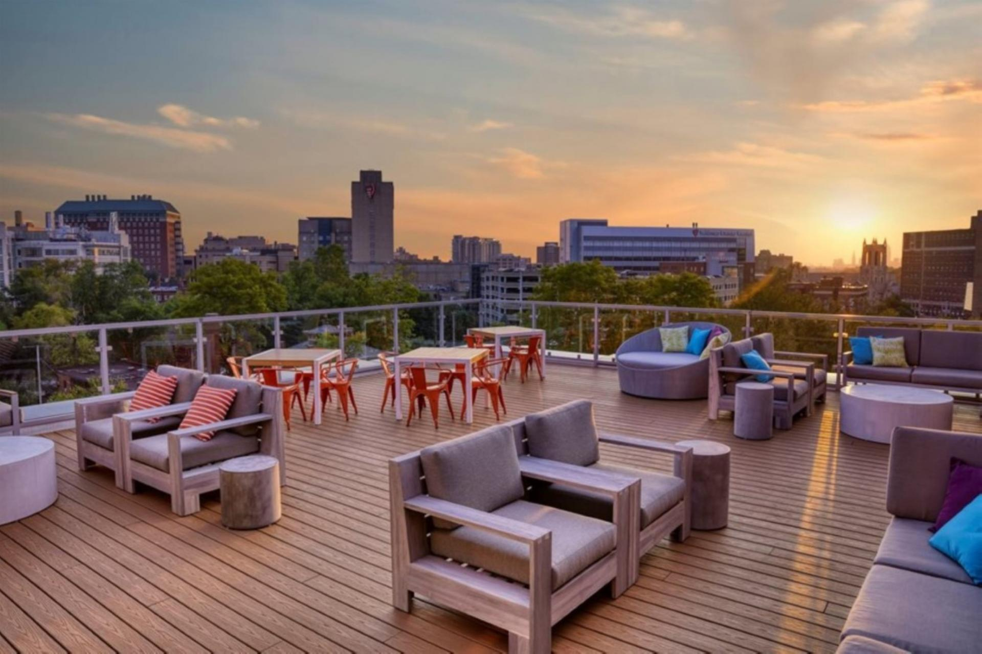 Roof deck at Centric Apartments, University Circle, Cleveland