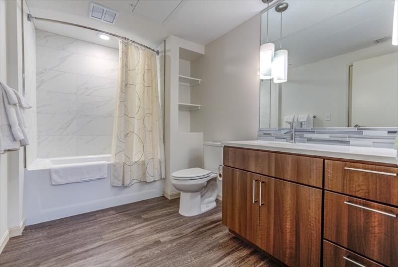 Bathroom at Centric Apartments, University Circle, Cleveland