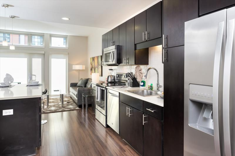 Equipped kitchen at Channel Mission Bay Apartments
