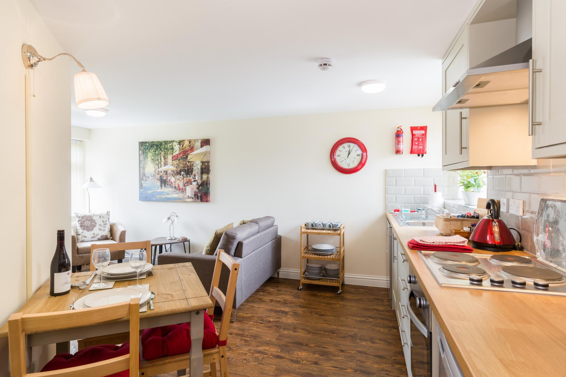 Open plan kitchen at The Green Apartments