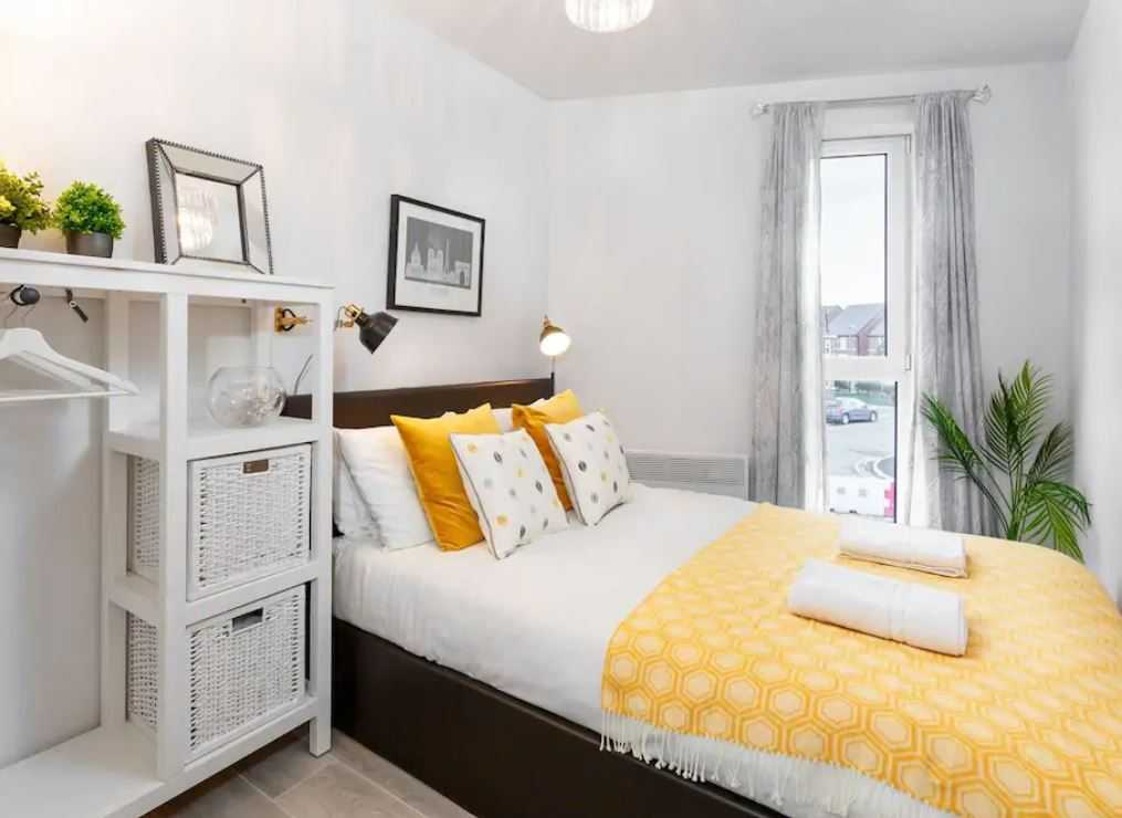 Stylish bedroom at Barall Court Apartments