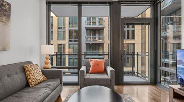 Living area at Flats 8300 Apartments