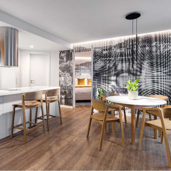 Kitchen diner at Mamaison Residence Downtown Prague