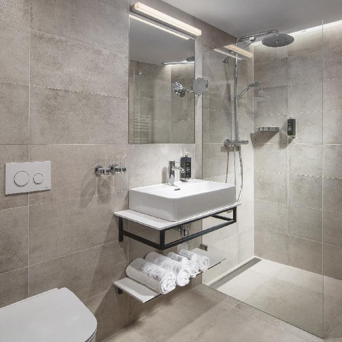 Modern bathroom at Mamaison Residence Downtown Prague