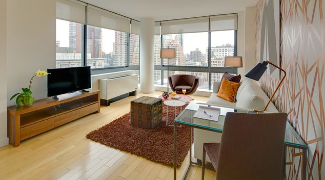 Living space at Tower 31 Apartments, Murray Hill, New York City