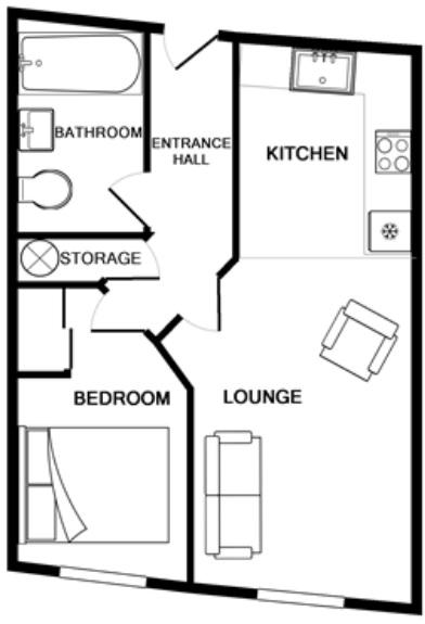 Floor plan 1 at Gunwharf Quays Serviced Apartments