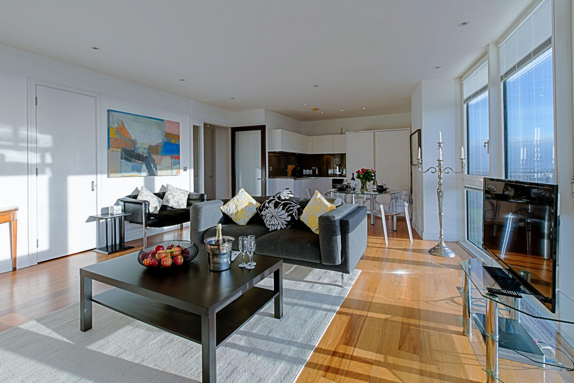 Living room at Gunwharf Quays Serviced Apartments