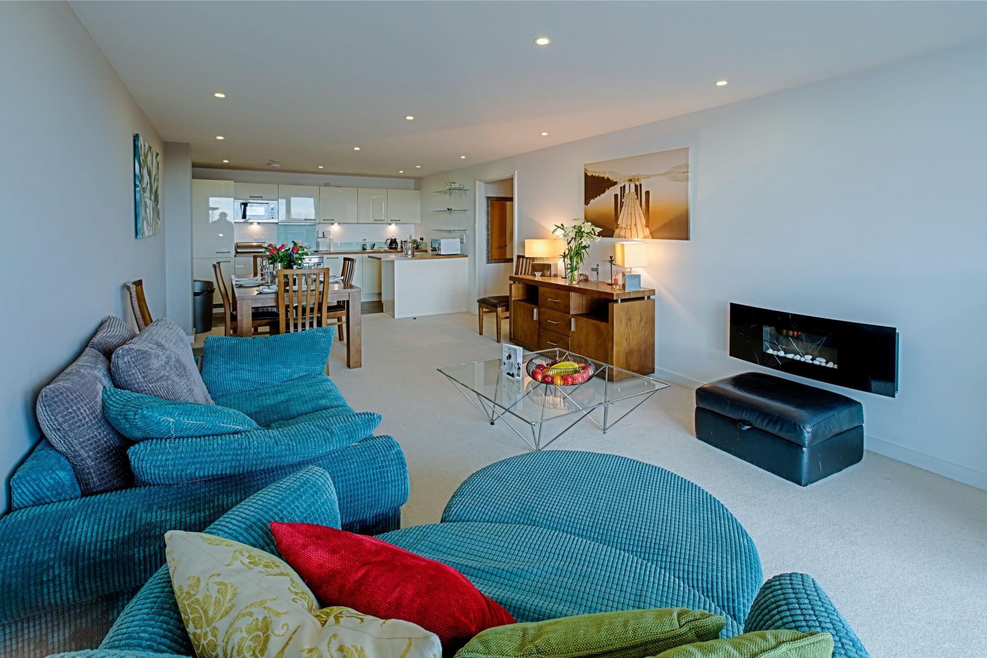 Lounge area at Gunwharf Quays Serviced Apartments