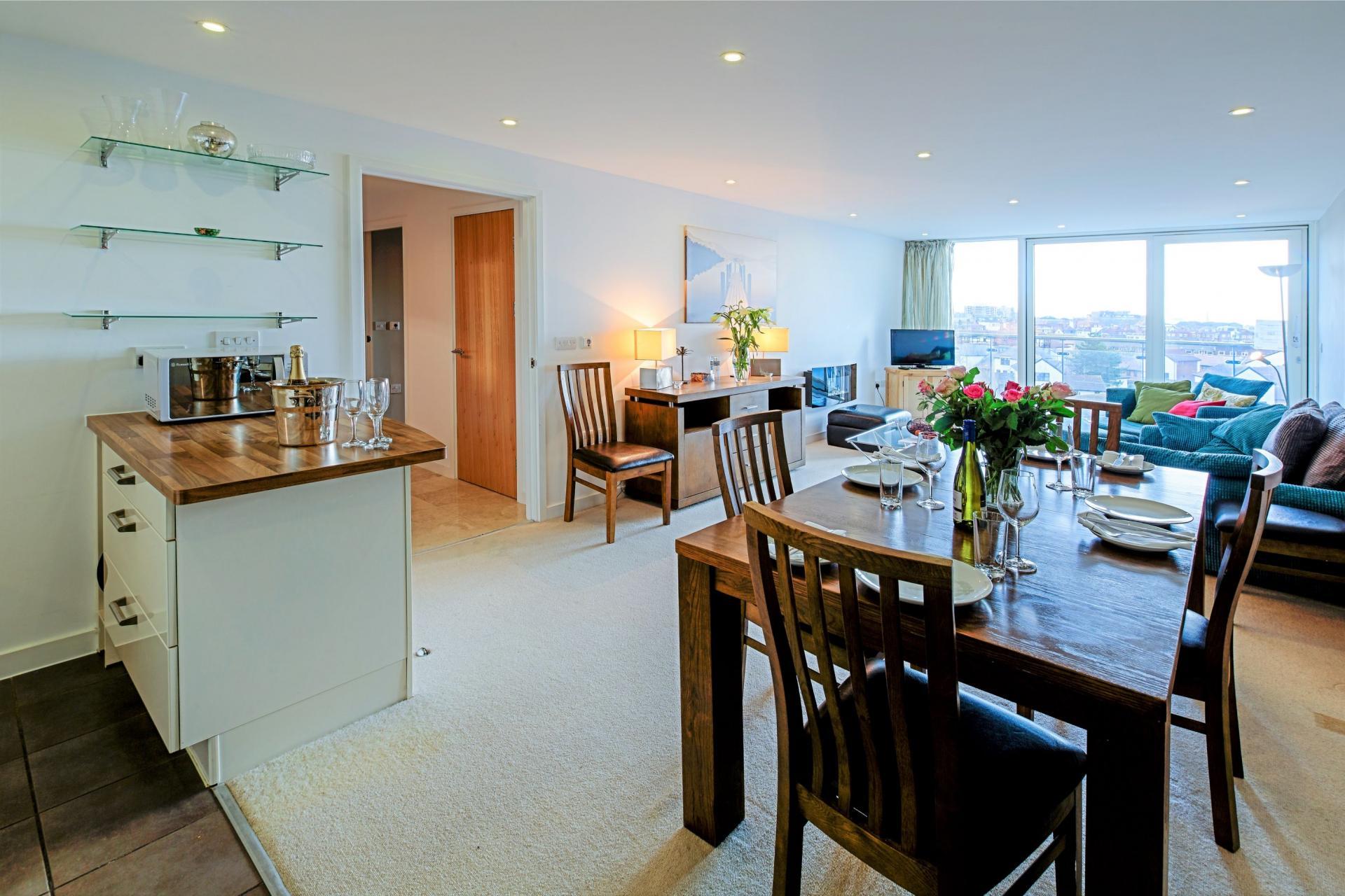 Dining area at Gunwharf Quays Serviced Apartments