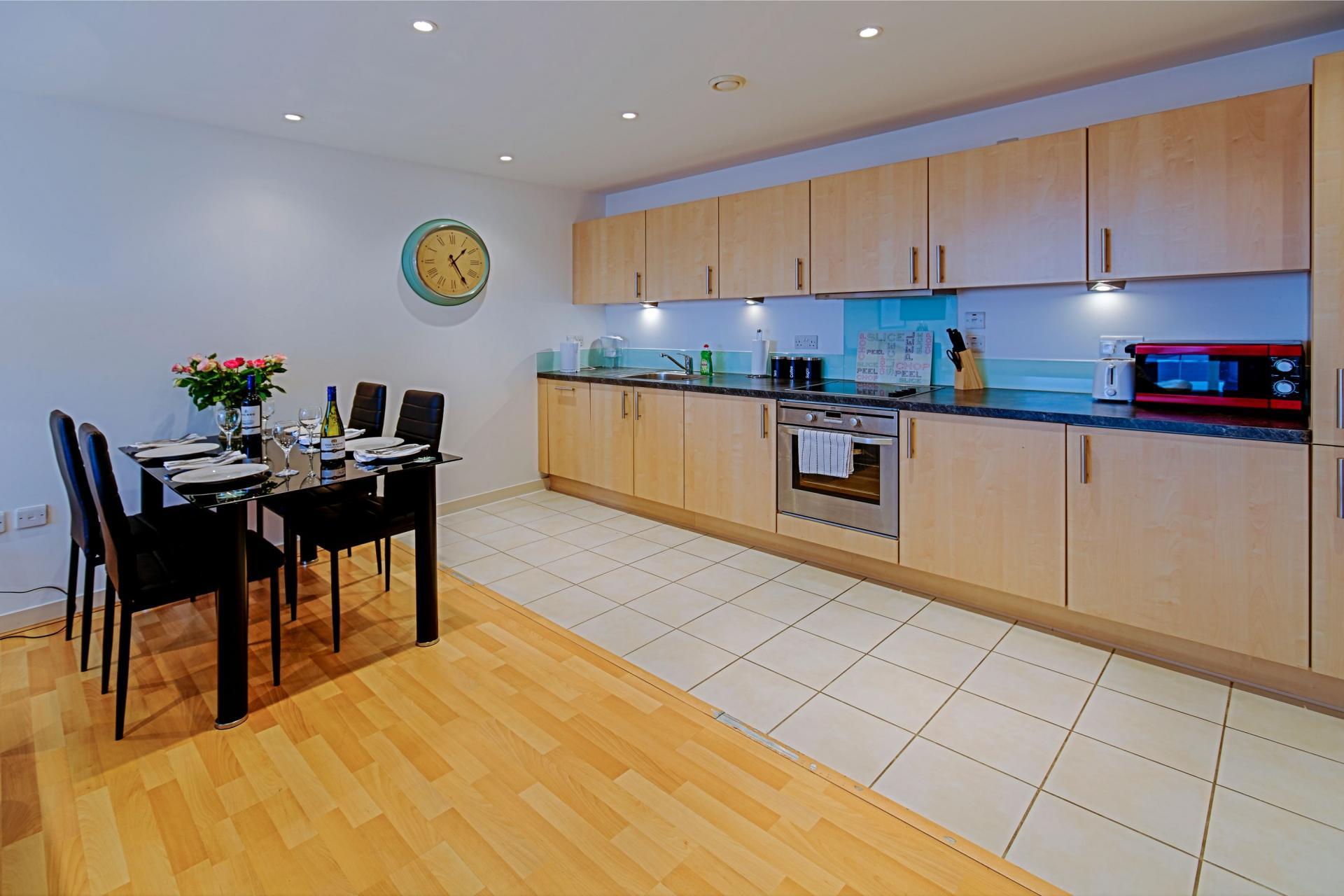 Spacious kitchen at Gunwharf Quays Serviced Apartments