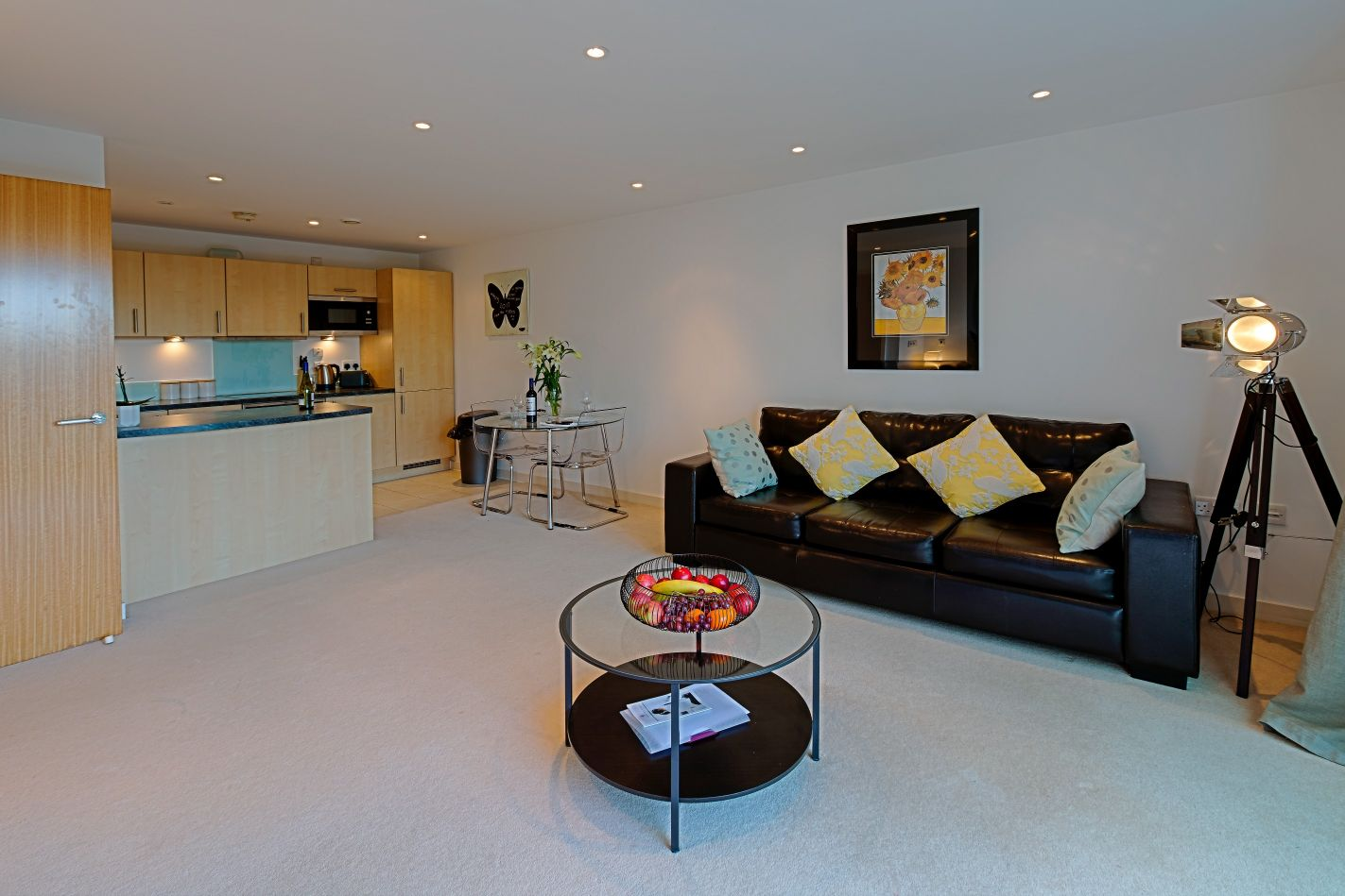 Open-plan living area at Gunwharf Quays Serviced Apartments