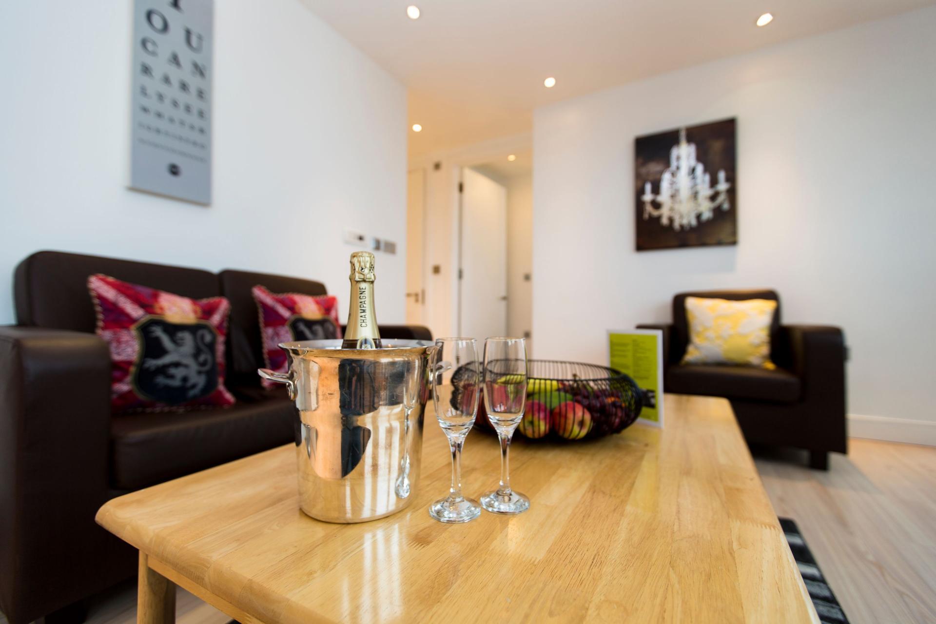 Coffee table at Gunwharf Quays Serviced Apartments