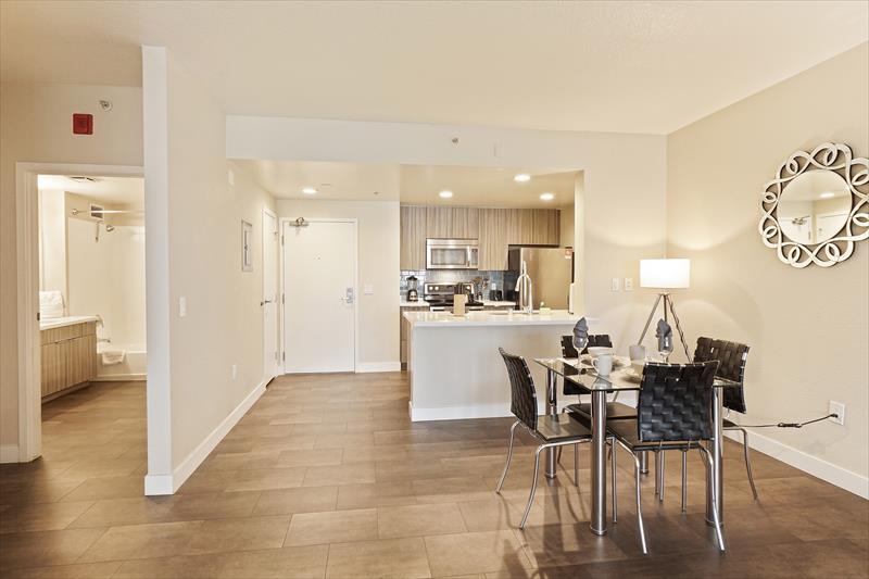 Spacious living area at Soma Apartments
